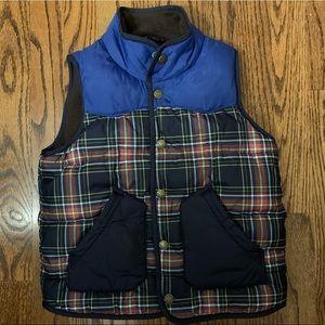 Cozy Mini Boden plaid puffer vest size 4-5